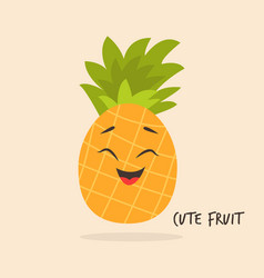 Funny smiling pineapple character design vector