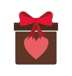 Gift box with heart icon vector