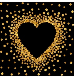Gold frame in the shape of heart vector image