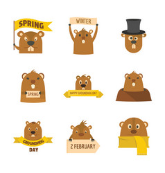 groundhog day happy logo icons set flat style vector image
