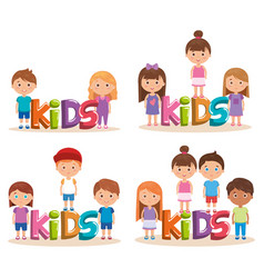 group of little kids playing with word vector image