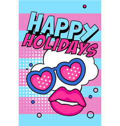 Happy holidays banner bright retro pop art style vector