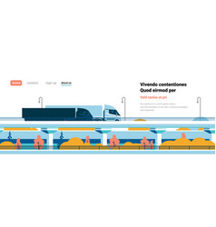 highway semi trucks trailers driving over modern vector image
