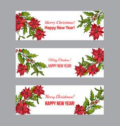 Holly poinsettia and mistletoe christmas and new vector