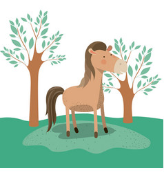Horse animal caricature in forest landscape vector