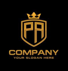 initial pa luxury logo design vector image