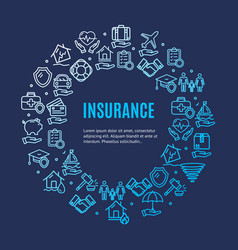 Insurance round design template line icon concept vector