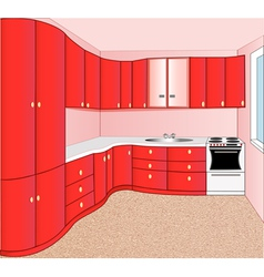 interior of the kitchen red vector image