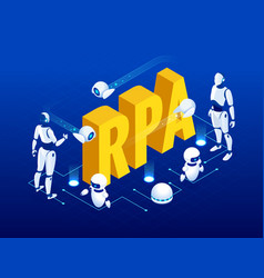 isometric concept of rpa artificial intelligence vector image