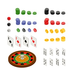 Isometric set gambling and casino items vector