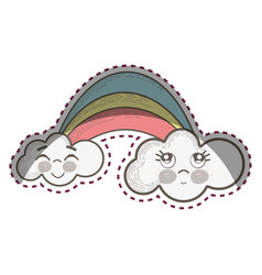 kawaii rainbow with clouds with faces expression vector image