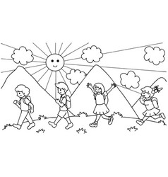 Kids walking to school vector