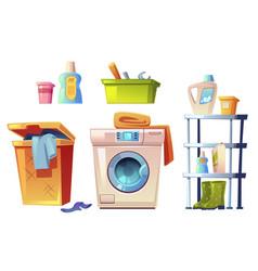 Laundry equipment bathroom stuff set vector