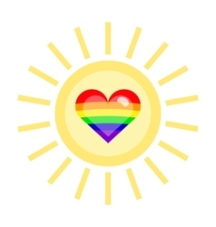 LGBT heart in a sun vector