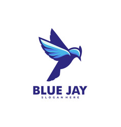 Logo blue jay simple mascot style vector