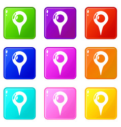 map pointer icons set 9 color collection vector image