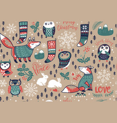 Merry christmas seamless pattern with lovely vector