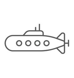 Military submarine thin line icon marine and vector