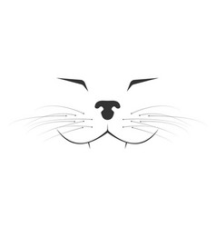 Minimalistic happy cat muzzle cartoon vector