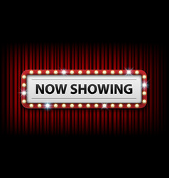 Now showing with electric bulbs frame on red vector