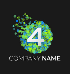 number four logo particles and bubble dots vector image
