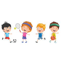 of kids making sport vector image