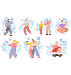 People using smartphones hand drawn cartoon vector