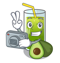 Photographer avocado smoothies are isolated on vector