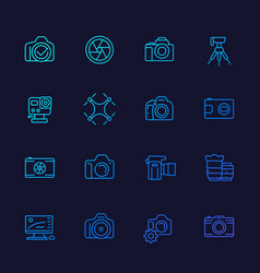photography line icons vector image
