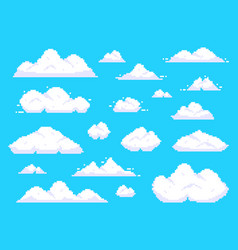 pixel clouds retro 8 bit blue sky aerial cloud vector image