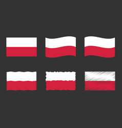 poland flag set official vector image