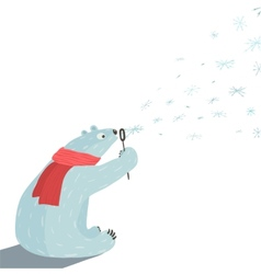 Polar Bear Blowing Snowflakes vector image