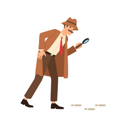 Private detective going on trace look through vector