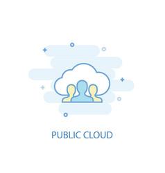Public cloud line concept simple line icon vector