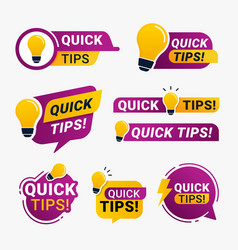 Quick tips logo badge with yellow lightbulb icon vector