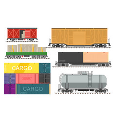 Railway transport freight train wagons isolated vector