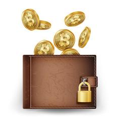 Realistic bitcoin wallet brown vector