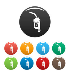 refill fuel pistol icons set color vector image