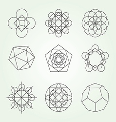 Sacred geometry symbols set vector