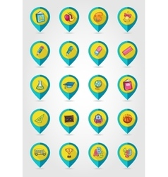 School flat mapping pin icon set vector