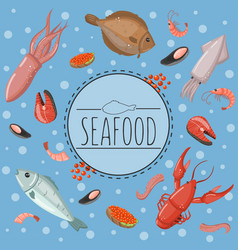 seafood fish products for the fish market or vector image