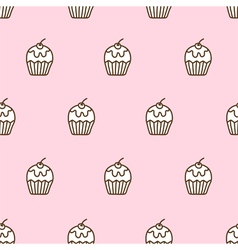 Seamless pattern of cute cupcake vector image
