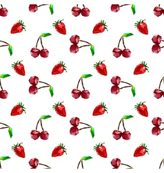 Seamless pattern strawberry and cherry Polygon fru vector