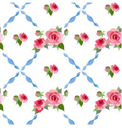 Seamless rose peony pattern vector