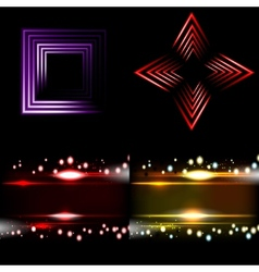 Set blurry abstract lines light effect sparkle vector