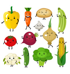 set cute vegetables characters vector image