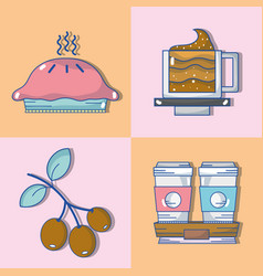 set delicious coffee with different taste vector image