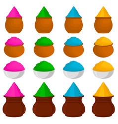 Set different types colorful bowls powder for holi vector