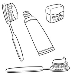 Set tooth care set vector