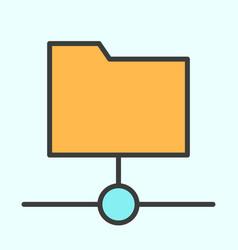 Shared folder line icon simple minimal pictogram vector